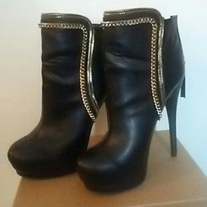 Black gold chained booties